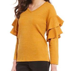 NWT Dillard's Gibson & Latimer Ruffle Sweater